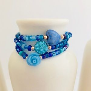 Kids Heart & Flower Light Blue Beaded Bracelet